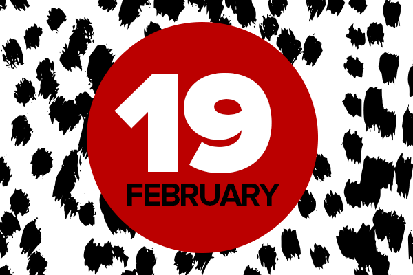 Illustrated background with red circle and text: 19 February