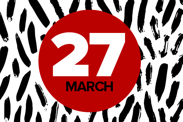 Black and white background with red circle and text: 27 March