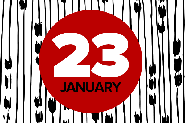 Black, white and red graphic for January 23