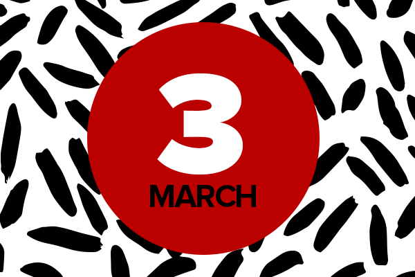 Black, red and white abstract graphic for March 3