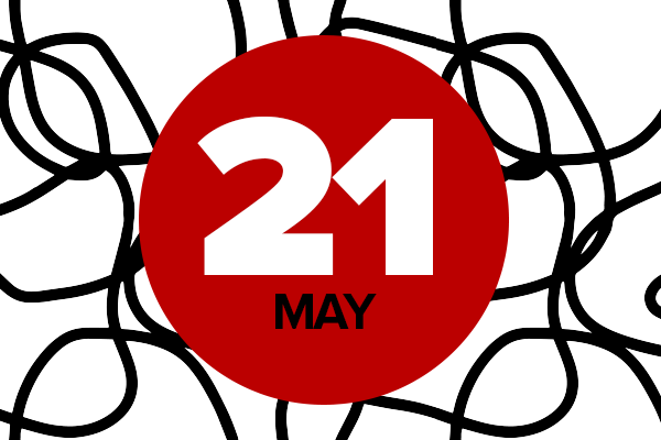 May 21 event graphic in black, white and red
