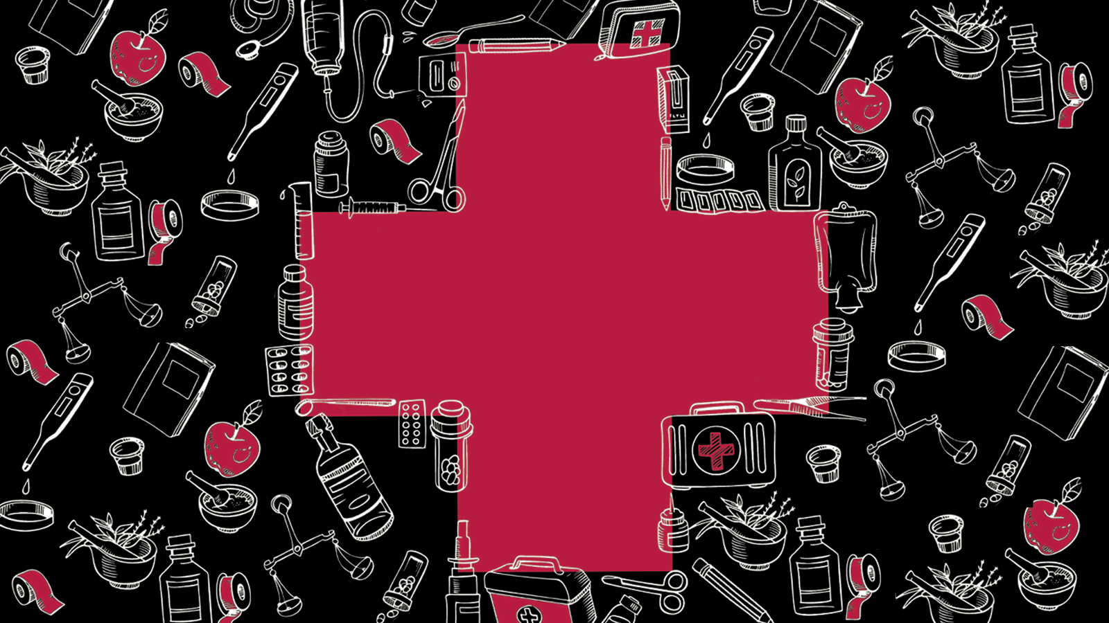 Red Cross with medical and humanities symbols