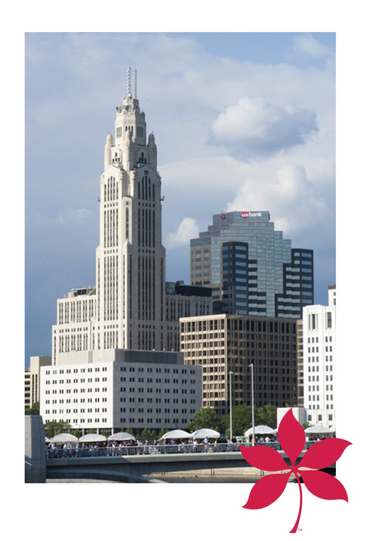 City of Columbus with red leaf