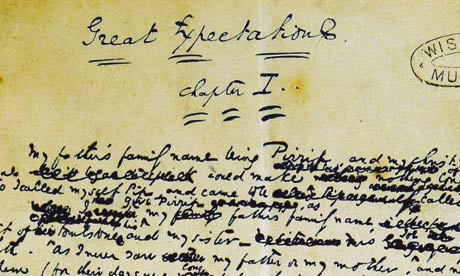 Scan of Dickens' Great Expectations manuscript.