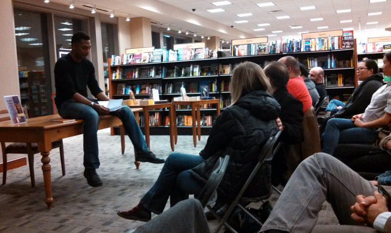Terrance Hayes giving a book reading at Barnes and Noble.
